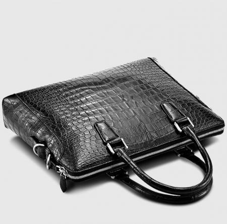 Luxury Alligator Briefcase, Luxury Alligator Laptop Bag for Men-Black-Top