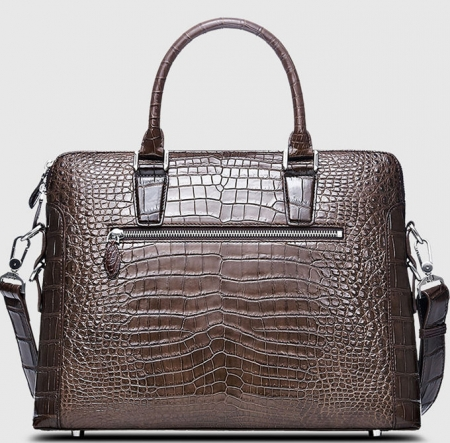 Luxury Alligator Briefcase, Luxury Alligator Laptop Bag for Men-Brown-Back