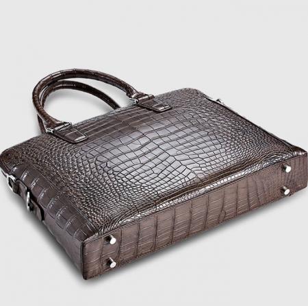 Luxury Alligator Briefcase, Luxury Alligator Laptop Bag for Men-Brown-Bottom