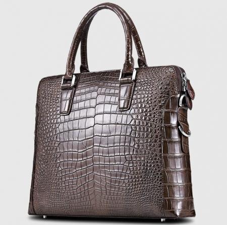 Luxury Alligator Briefcase, Luxury Alligator Laptop Bag for Men-Brown-Right