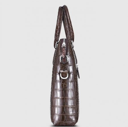 Luxury Alligator Briefcase, Luxury Alligator Laptop Bag for Men-Brown-Side