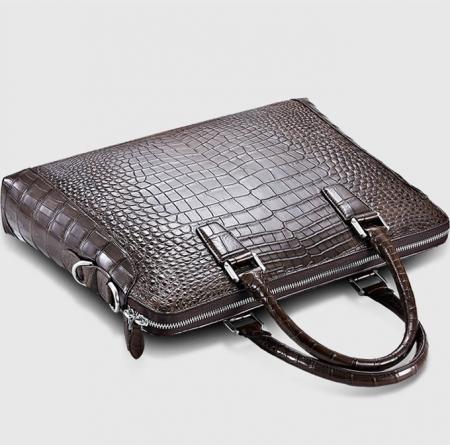 Luxury Alligator Briefcase, Luxury Alligator Laptop Bag for Men-Brown-Top