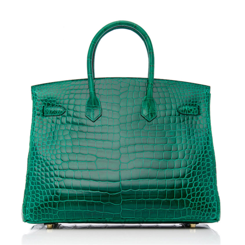 Luxury Genuine Alligator Handbag-Green-Back