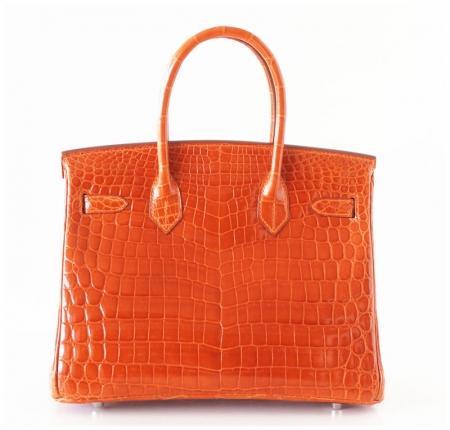 Luxury Genuine Alligator Handbag-Orange-Back