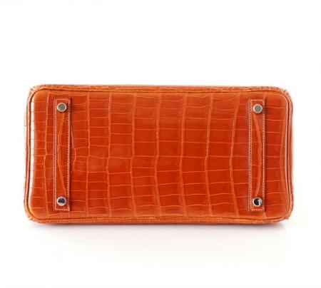 Luxury Genuine Alligator Handbag-Orange-Bottom