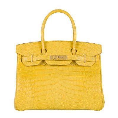 Luxury Genuine Alligator Handbag-Yellow