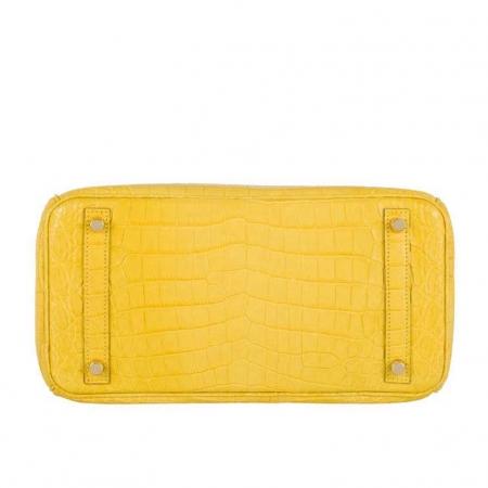 Luxury Genuine Alligator Handbag-Yellow-Bottom