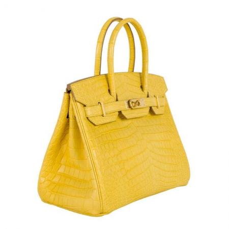 Luxury Genuine Alligator Handbag-Yellow-Side