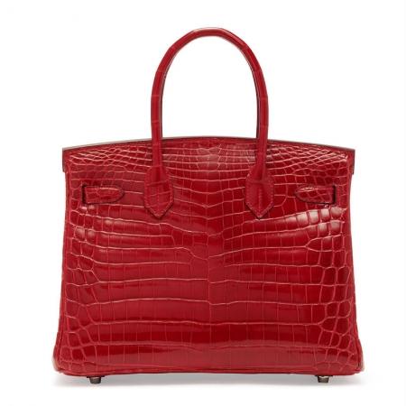 Luxury Genuine Alligator Leather Handbag-Back