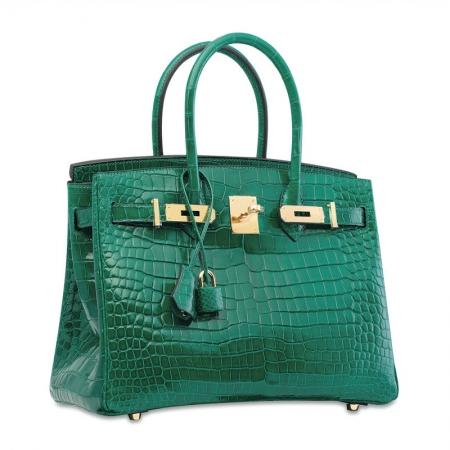 Luxury Genuine Alligator Leather Handbag-Green-30CM