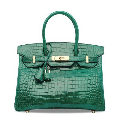 Luxury Genuine Alligator Leather Handbag-Green