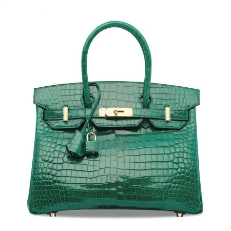 Luxury Genuine Alligator Leather Handbag-Green