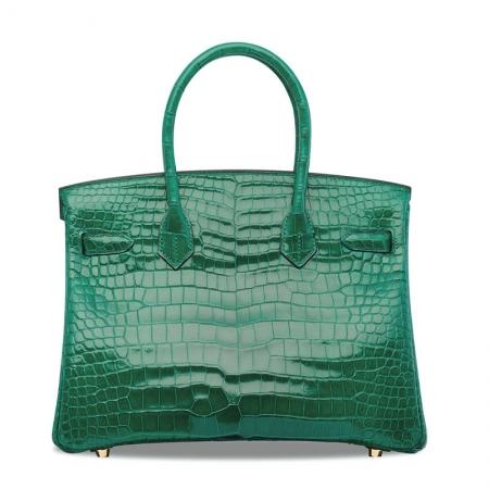Luxury Genuine Alligator Leather Handbag-Green-Back