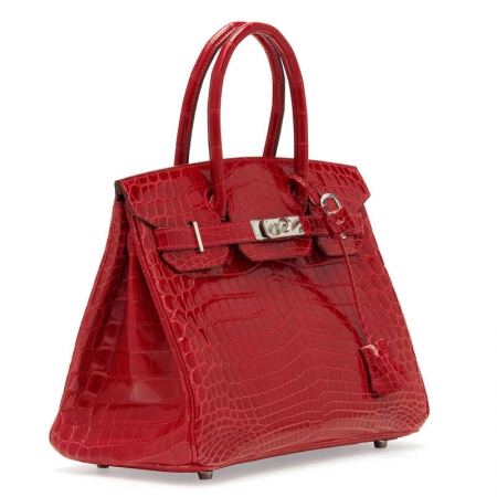 Luxury Genuine Alligator Leather Handbag-Red