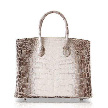 Luxury Genuine Alligator Leather Handbag-White-Back