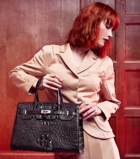 Luxury Genuine Crocodile Handbag for Women-Black-Display