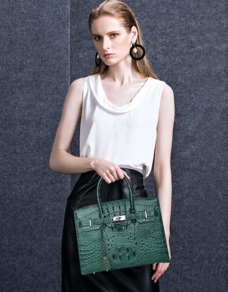 Luxury Genuine Crocodile Handbag for Women-Green-Display