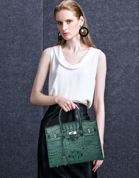 Luxury Genuine Crocodile Handbag for Women-Green-Display