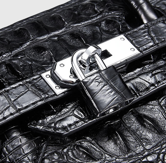 Luxury Genuine Crocodile Handbag for Women-Lock