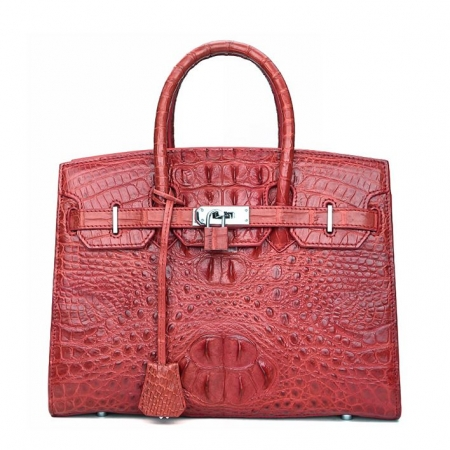 Luxury Genuine Crocodile Handbag for Women-Red