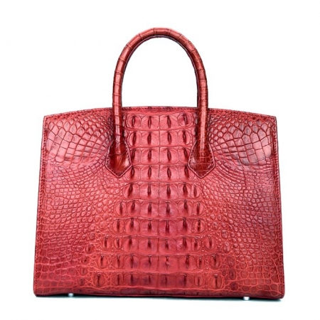 Luxury Genuine Crocodile Handbag for Women-Red-Back