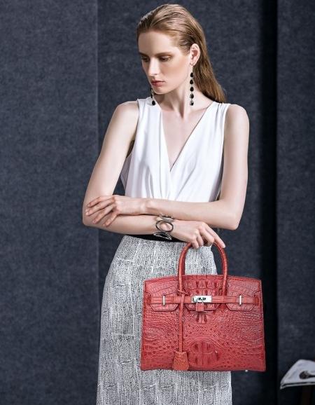 Luxury Genuine Crocodile Handbag for Women-Red-Display