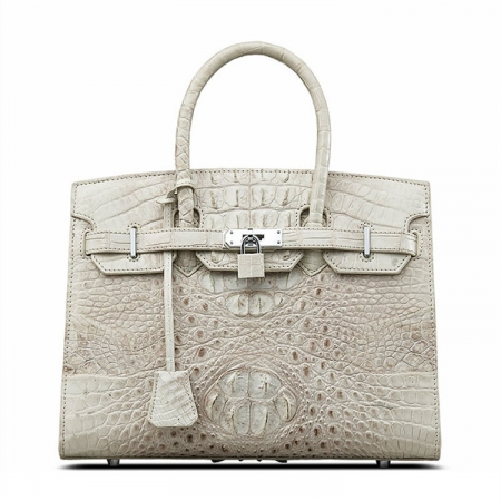 Luxury Genuine Crocodile Handbag for Women-White