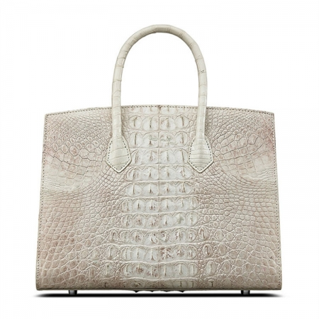 Luxury Genuine Crocodile Handbag for Women-White-Back