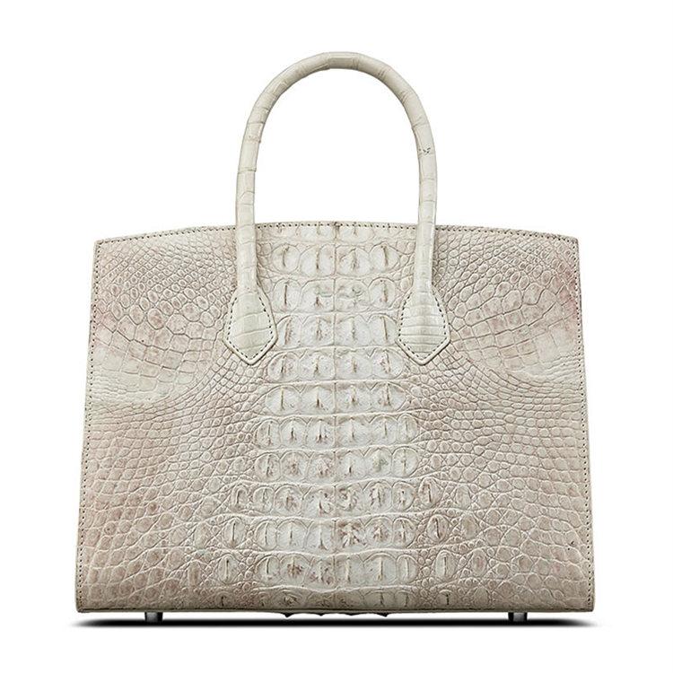 Luxury Genuine Crocodile Handbag for Women-White-Back