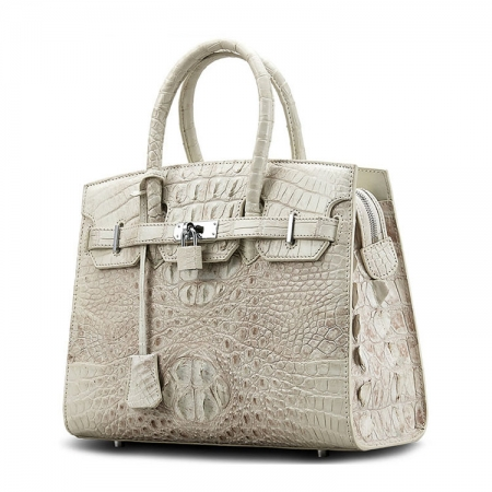 Luxury Genuine Crocodile Handbag for Women-White-Side