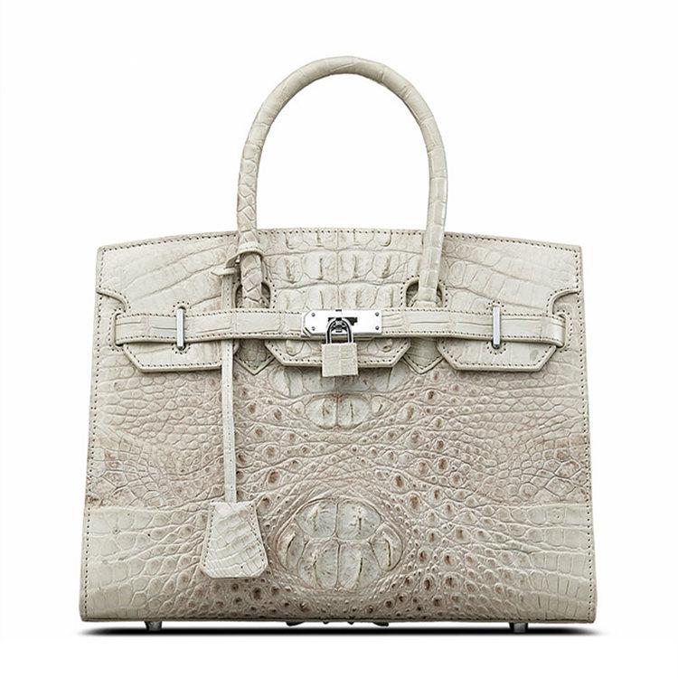 Luxury Genuine Crocodile Handbag for Women-White