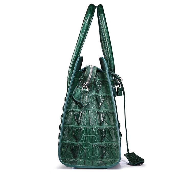 Luxury Green Genuine Crocodile Handbag for Women-Side