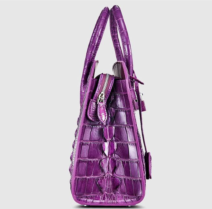 Luxury Purple Genuine Crocodile Handbag-Side