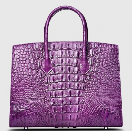 Luxury Purple Genuine Crocodile Handbag for Women-Back