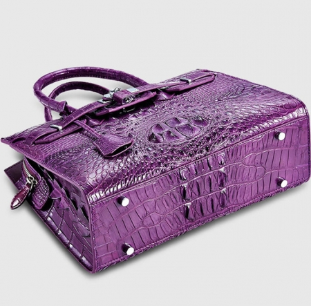 Luxury Purple Genuine Crocodile Handbag for Women-Bottom