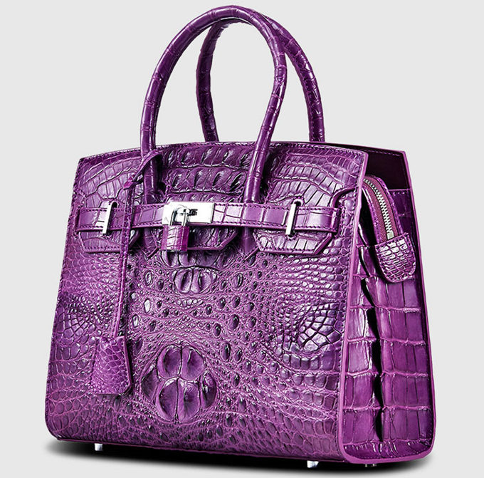 Luxury Purple Genuine Crocodile Handbag for Women-Left