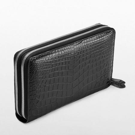 Mens Alligator Clutch Bag, Large Alligator Wallet-Double zipper