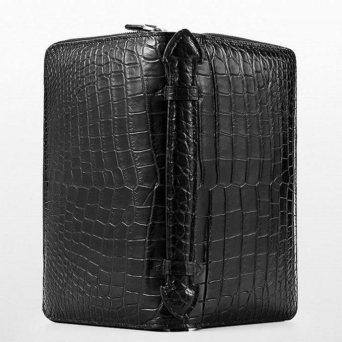 Mens Alligator Clutch Bag, Large Alligator Wallet-Surface