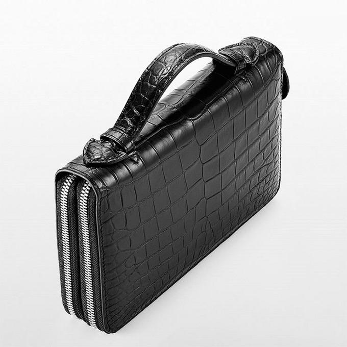 Mens Alligator Clutch Bag, Large Alligator Wallet-Top