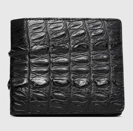 Mens Bifold Genuine Crocodile Wallet-Front