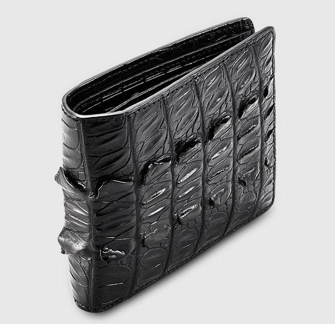 Mens Bifold Genuine Crocodile Wallet-Side