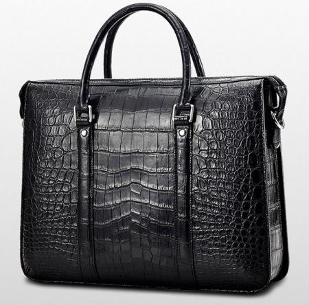 Mens Fashion Alligator Bag Alligator Business Briefcase-Black-Back