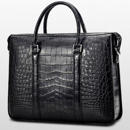 Mens Fashion Alligator Bag Alligator Business Briefcase-Black-Back