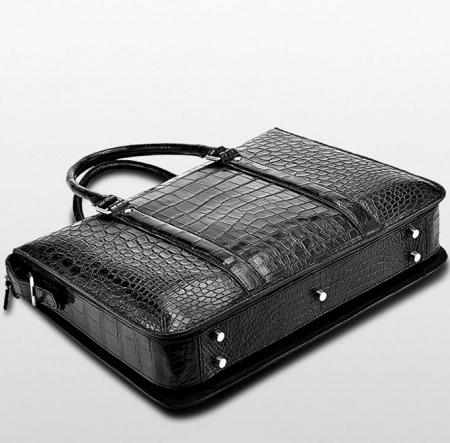 Mens Fashion Alligator Bag Alligator Business Briefcase-Black-Bottom