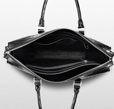 Mens Fashion Alligator Bag Alligator Business Briefcase-Black-Inside