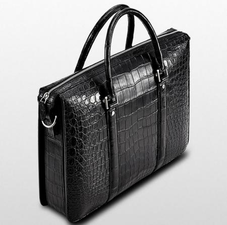 Mens Fashion Alligator Bag Alligator Business Briefcase-Black-Left