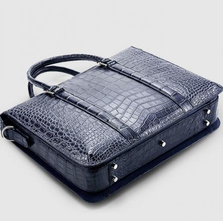 Mens Fashion Alligator Bag Alligator Business Briefcase-Blue-Bottom