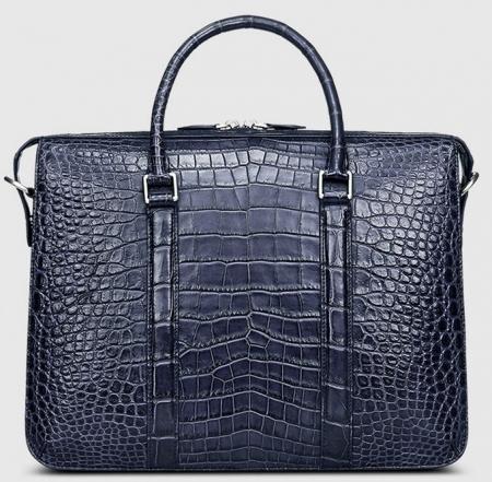 Mens Fashion Alligator Bag Alligator Business Briefcase-Blue-Front