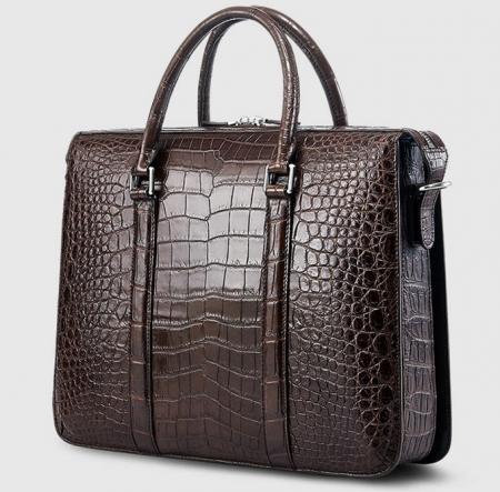 Mens Fashion Alligator Bag Alligator Business Briefcase-Brown-Back