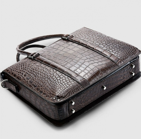 Mens Fashion Alligator Bag Alligator Business Briefcase-Brown-Bottom